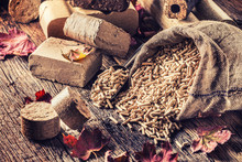 Wooden Pressed Pellets And Briquettes From Biomass.