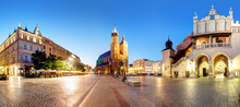 Panorama Of Krakow Market Square, Poland At Night
