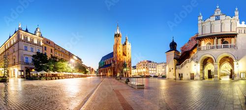 Fototapeta Panorama of Krakow Market Square, Poland at night obraz