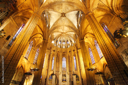 BARCELONA - FEBRUARY 9: The Cathedral of the Holy Cross and Saint Eulalia on February 9, 2016 in Barcelona, Spain. It is a hall church, vaulted over five aisles, the outer two divided into chapels.