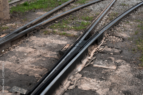 Part of railway track with switch