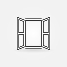 Opened Window Icon. Vector Sym...