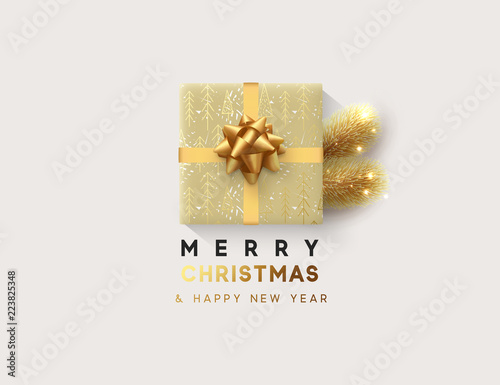 Cuadros en Lienzo Vector illustration letttering Merry Christmas, gift box closed wrapped ribbon with bow