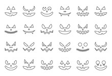 Spooky Halloween Face, Outline...