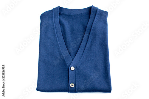 Pinturas sobre lienzo  folded Blue sweater isolated on white background. Top view