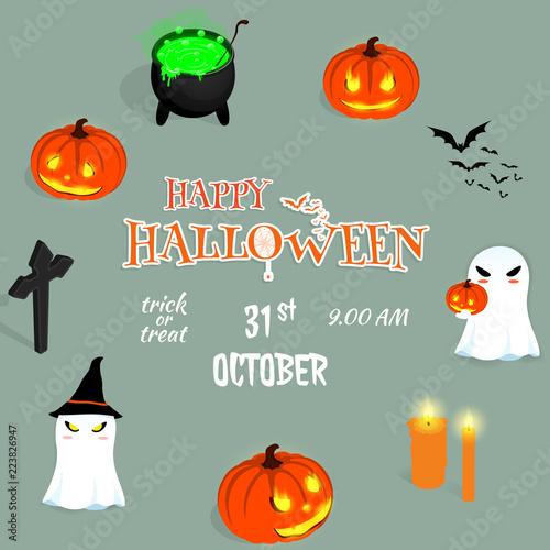 Photo  happy halloween cartoon ghost  pumkin background vector