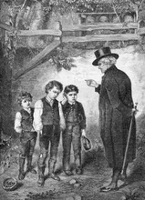 Small Thieves, Old Pastor Scolds Little Kids For Stealing Cherries In Orchard, Vintage Print