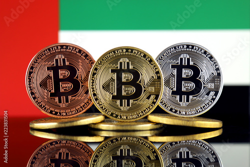 Fotografie, Obraz  Physical version of Bitcoin (BTC) and United Arab Emirates Flag