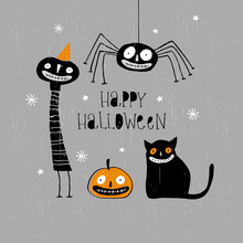 Funny Hand Drawn Happy Halloween Vector Illustration. Freaky Black Cat, Angry Pumpkin, Cute Black Spider, Creepy Clown In Orange Party Hat. Hand Written Letters. Gray Background.