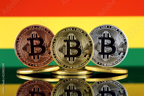 Staande foto Rotterdam Physical version of Bitcoin (BTC) and Bolivia Flag. Conceptual image for investors in High Technology (Cryptocurrency, Blockchain Technology, Smart Contracts, ICO).
