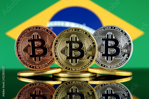Staande foto Rotterdam Physical version of Bitcoin (BTC) and Brazil Flag. Conceptual image for investors in High Technology (Cryptocurrency, Blockchain Technology, Smart Contracts, ICO).