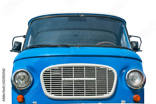 Poster Vintage voitures Old blue car with round headlights, front view, isolated on white background.