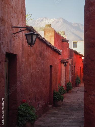 Recess Fitting Brick Street in Santa Catalina Monastery in Arequipa, Peru