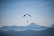 Paragliders at Brauneck, Lenggries, blue sky