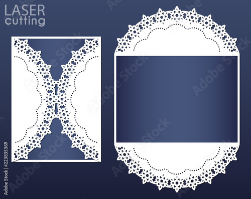 Laser cut wedding card template, suitable for Christmas