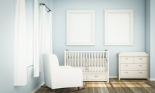 Two White Frames Mockup On Blue Baby Room