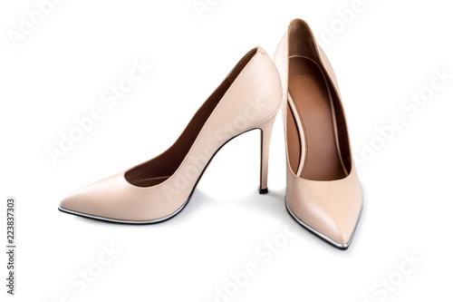 Obraz na płótnie Beige high heel shoes isolated on white isolated