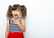 Crazy Girl Is Staying At White Background, Isolated