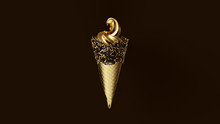 Gold Leaf Ice Cream With Gold Leaf Cone And Black Icing With Gold Sprinkles 3d Illustration 3d Render