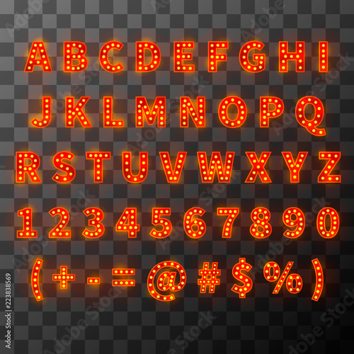 Lighting bulb font, bright alphabet in cabaret style Canvas Print