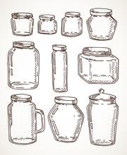Hand Drawn Jars Set