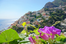 CLOSE UP: Cool Shot Of Coastal Town In Italy Behind The Purple Flower Blossoms.