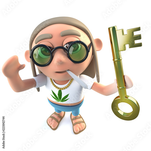 Photo 3d Funny cartoon hippy stoner character holding a gold key symbolising success