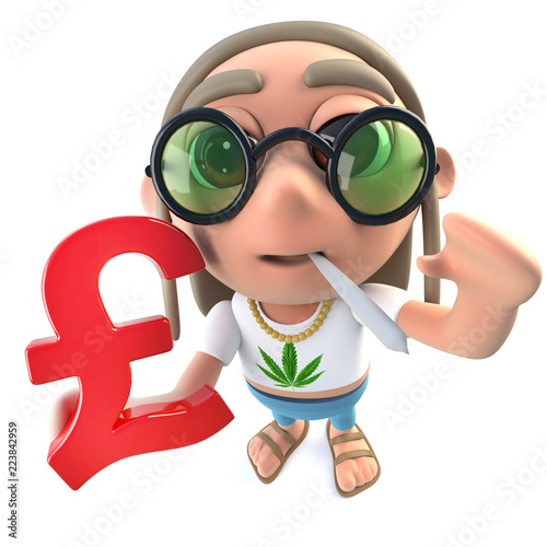 Funny Cartoon Hippy Stoner Character Holding A Uk Pounds Currency Symbol