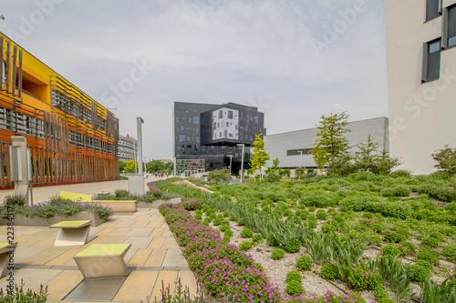Obraz Die neue und Ultra moderne Wirtschaftsuniversität Wien (WU Wien) im Frühling in der Nähe des Wiener Praters - fototapety do salonu