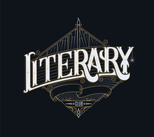 Book Club Lettering Handmade Logo. Literary Group Vintage Template With Free Place For Name. Decorative Banner Or Card.