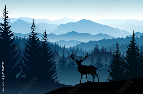 Vector blue landscape with silhouettes of misty mountains, forests and deer