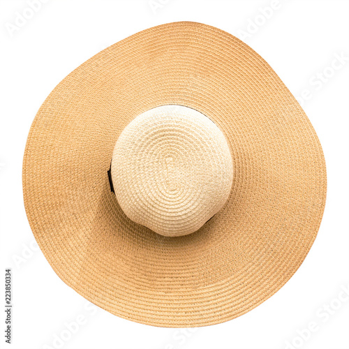 905f8dadfcc Straw hat with ribbon isolated on white background. Top view of fashion  hats in summer style. ( Clipping path )