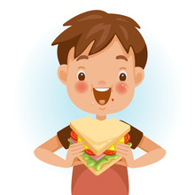 Boy Eating Sandwich. Emotional Mood On The Child's Face Feels Good. Delicious And Very Happy. Good Sandwich Bites. Cute Cartoon In Red Shirt. Vector Illustrations Isolated On White Background.