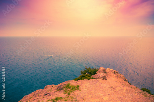 Sunset sea landscape. Scenic seascape nature