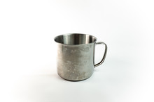 Cup Of Metal On A White Backgr...