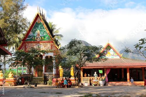 Deurstickers Bedehuis Vang Vieng, Laos - January 1, 2016 : Wat Kang Temple, Vang Vieng