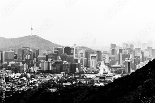 Black and white view of Gyeongbokgung Palace and Gwanghwamun Square from the Baegak Mountain, Seoul, South Korea.
