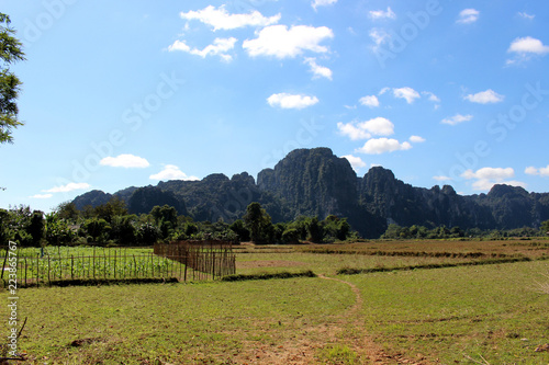 View of the meadow and mountains at Vang Vieng, Laos
