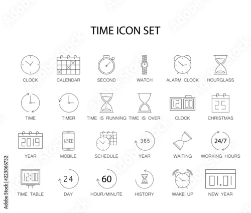 Fényképezés  Line icons set. Time pack. Vector illustration