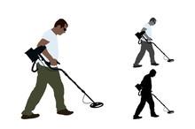 Treasure Hunter Walking With Metal Detector