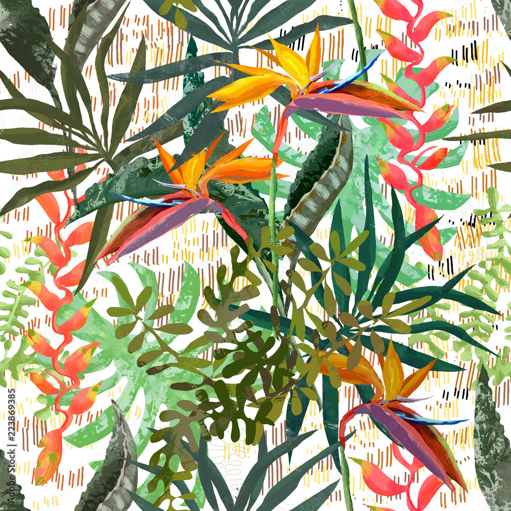 Modern tropical seamless pattern. Ideal texture for fashion fabric.