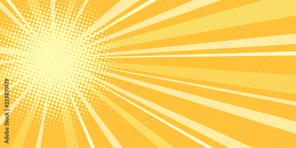 Fototapeta yellow sun pop art background
