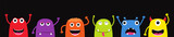 Fototapeta Fototapety na ścianę do pokoju dziecięcego - Set of funny cartoon monsters. Characters Halloween on black background.