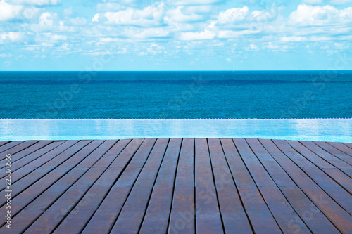 Canvas Print infinity pool with ocean view