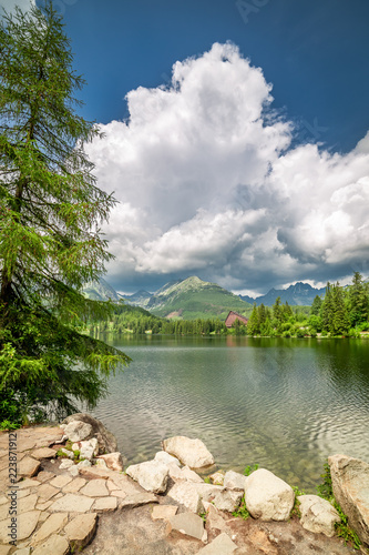 Stunning Strbske Pleso and mountain lake in theTatra mountains