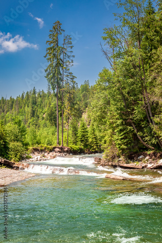 Stunning wild river in Tatras mountains in summer