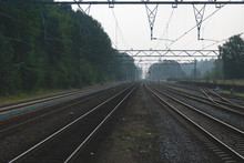 Railway Tracks At Dawn In The ...