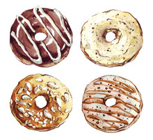 Donuts Painted With Watercolors On White Background. Colored Pastries On A White Background. Sweets. Doughnut Glaze