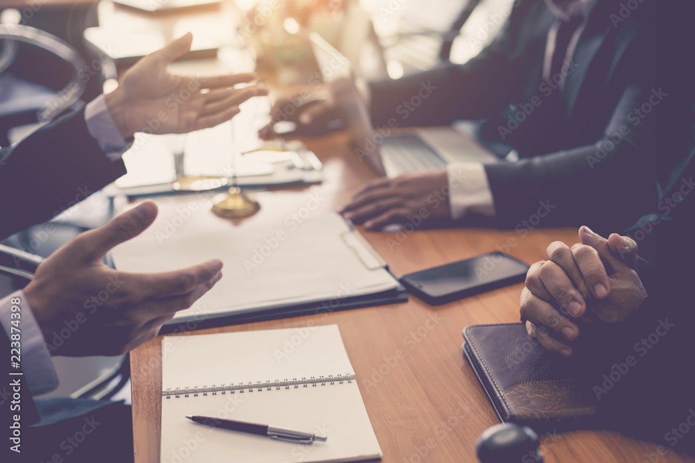Fototapeta Business lawyer team. Working together of lawyer in the meeting.