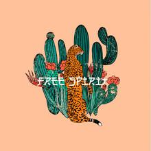 Free Spirit Slogan.Leopard Wit...
